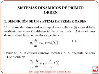 SISTEMAS DINÁMICOS  DE PRIMER ORDEN