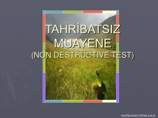 TAHRIBATSIZ MUAYENE NON DESTRUCTIVE TEST