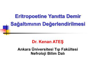 Eritropoetine Yanitta Demir Sagaltiminin Degerlendirilmesi