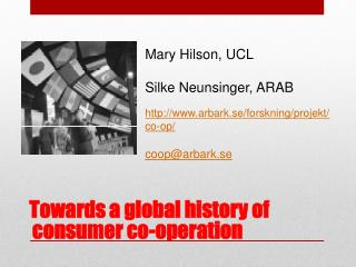 Towards a global history of consumer co-operation