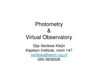 Photometry &  Virtual Observatory