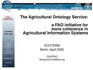ECOTERM Berlin, April 2005 GILW/FAO  Margherita.Sini@fao
