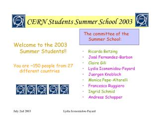 CERN Students Summer School 2003
