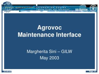 Agrovoc  Maintenance Interface