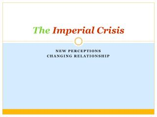 The  Imperial Crisis