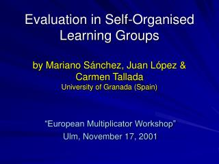 """European Multiplicator Workshop"" Ulm, November 17, 2001"
