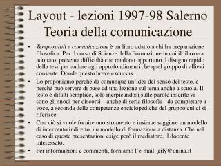 Layout - lezioni 1997-98 Salerno Teoria della comunicazione