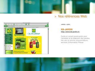 >  Nos références Web