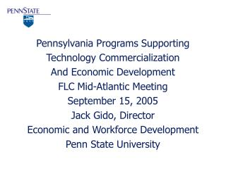 Pennsylvania Programs Supporting Technology Commercialization And Economic Development