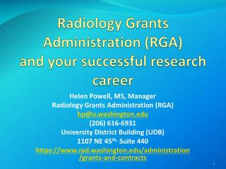 Radiology Grants Administration (RGA) and your successful research career