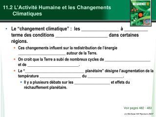 11.2  L�Activit� Humaine et les Changements Climatiques