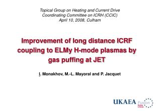Improvement of long distance ICRF coupling to ELMy H-mode plasmas by gas puffing at JET