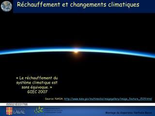 R�chauffement et changements climatiques