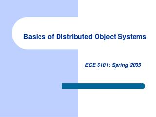 Basics of Distributed Object Systems