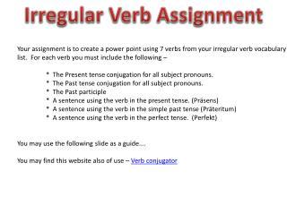 Irregular Verb Assignment