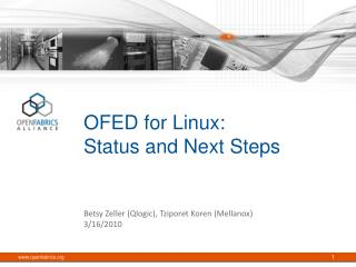 OFED for Linux:  Status and Next Steps