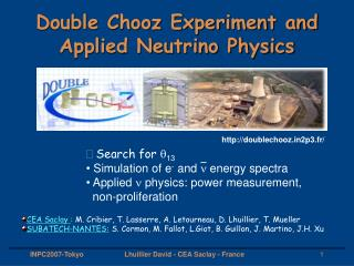 Double Chooz Experiment and Applied Neutrino Physics