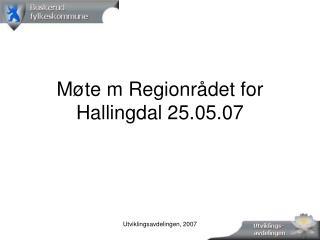 Møte m Regionrådet for Hallingdal 25.05.07