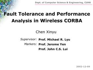 Fault Tolerance and Performance  Analysis  in Wireless CORBA