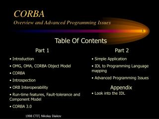 CORBA Overview and Advanced Programming Issues