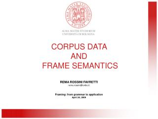 CORPUS DATA  AND  FRAME SEMANTICS
