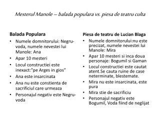 Mesterul  Manole – balada populara vs. piesa de teatru culta