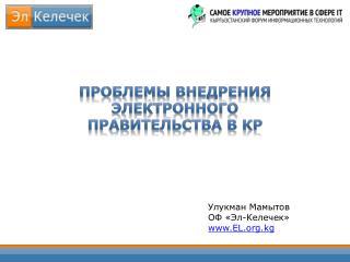 Проблемы внедрения электронного правительства в КР