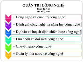 QUẢN TRỊ CÔNG NGHỆ  Phan Tú Anh Hà Nội, 2009