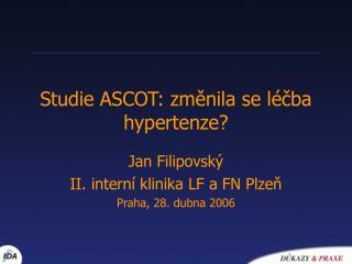 Studie ASCOT: změnila se léčba hypertenze?
