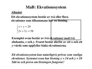 MaB: Ekvationssystem