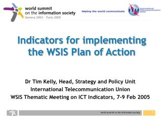 Indicators for implementing the WSIS Plan of Action