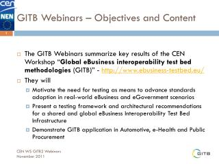 GITB Webinars – Objectives and Content