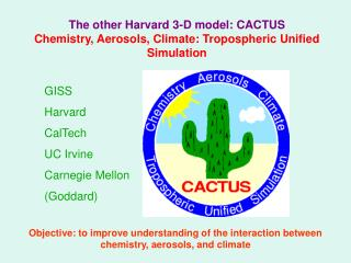 The other Harvard 3-D model: CACTUS Chemistry, Aerosols, Climate: Tropospheric Unified Simulation