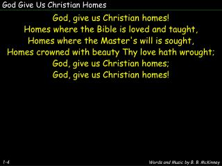 God Give Us Christian Homes