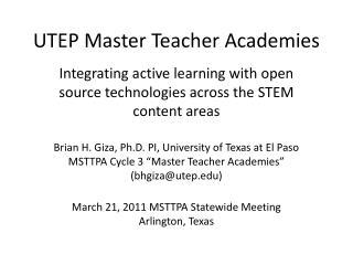 UTEP Master Teacher Academies