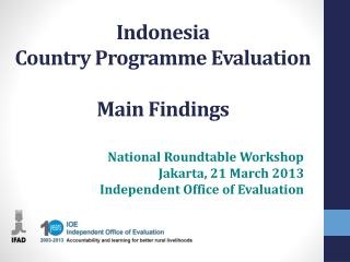 Indonesia Country Programme Evaluation Main Findings