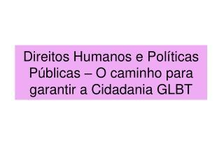 Direitos Humanos e Políticas Públicas – O caminho para garantir a Cidadania GLBT
