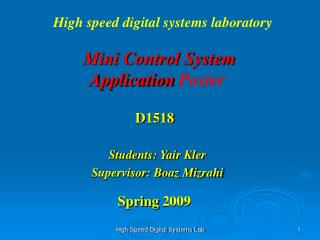 Mini Control System Application  Poster