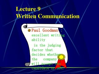 Lecture 9  Written Communication