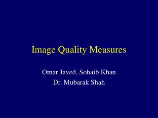Image Quality Measures