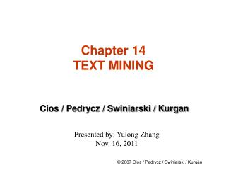 Chapter 14 TEXT MINING