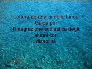Lettura ed analisi delle Linee Guida per l'integrazione scolastica degli alunni con disabilità