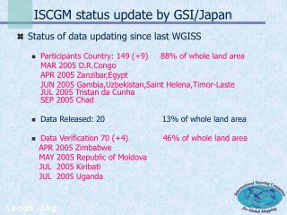 ISCGM status update by GSI/Japan