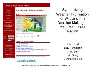 Synthesizing Weather Information for  Wildland  Fire Decision Making in the Great Lakes Region