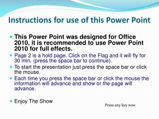 Instructions for use of this Power Point