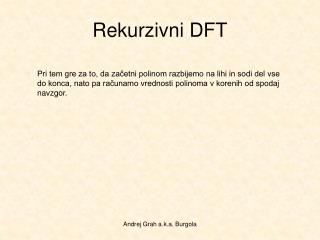 Rekurzivni DFT