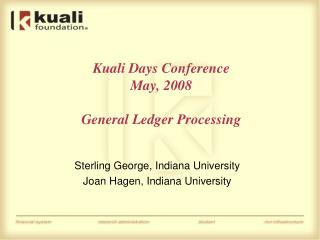 Kuali Days Conference May, 2008 General Ledger Processing