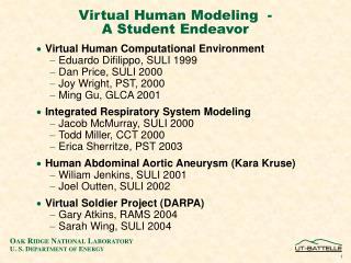 Virtual Human Modeling  - A Student Endeavor