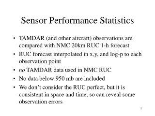 Sensor Performance Statistics