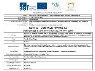 EU-8-59 – DERIVACE FUNKCE XV (konvexnost a konkávnost funkce, inflexní body)